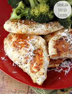 3-Ingredient Parmesan Crusted Chicken Breasts #recipe - RecipeGirl.com.  Such an easy weeknight dinner recipe that the whole family will be happy with.