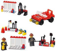 Fire Emergency Series 5-In-1 Building Bricks 99pc Toy set Fire Fighter - Road Block - Fire Equipment - Mini Fire Car - Brave Fire Fighters Compatible to Lego Parts >>> To view further for this item, visit the image link.