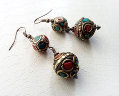 Traditional Berber beads, red and turquoise enamels - by MercysFancy on Etsy