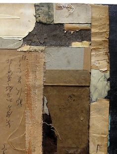 The varied textures in this piece and the structured design inspire me for my fabric/mixed media pieces. Collages, Collage Artists, Abstract Expressionism, Abstract Art, Paul Klee Art, Wabi Sabi, Diy Art Projects, Mixed Media Painting, Texture Art