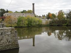 Old factory walls on the Grand River, Elora Ontario Canada