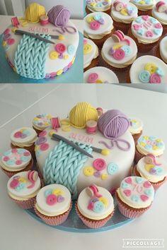 Birthday cake desserts 26 ideas for 2019 Fondant Cakes, Cupcake Cakes, Knitting Cake, Sewing Cake, Crochet Cake, Adult Birthday Cakes, Cake Birthday, Decoration Patisserie, Novelty Cakes