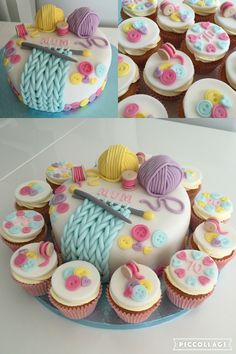 Knitting Theme Birthday Cake