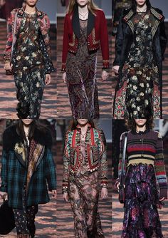 Etro_AW1617_Milan Tattoo Touched Embroidery – Dragon Printed Silk – Brocade – Striped Knit – Ethnic Borders – Paisley – Collaged Printed Linings – Check and Floral Mixes – Print Layering – Floral Dévoré
