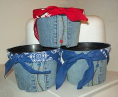 Recycle jeans to decorate flower pots. I think it would be super cute to leave the pocket on the side and put your seed packet in it. Great gift idea for mothers day