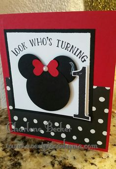 www.sweetpiecesbyme.com, Charlene Becker, Minnie Mouse, Birthday, Turning One, Punch Art, Number of Years, http://sweetpiecesbyme.stampinup.net