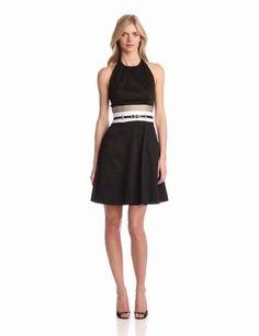 Calvin Klein Women's Solid Halter Dress With Pockets