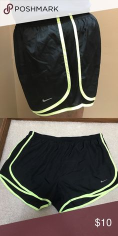 Nike Women's Running Shorts black with highlighter yellow women's nike running shorts. lightly worn and in great condition. Nike Shorts