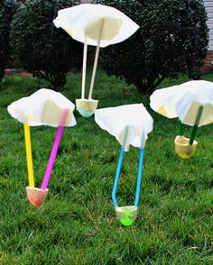 STEM Science Experiments with Egg Parachutes - fun science for Easter!