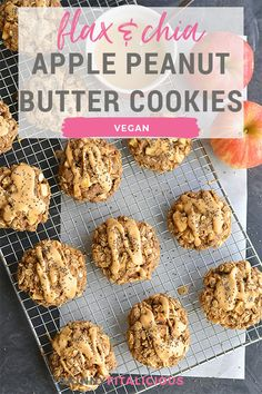 Apple Peanut Butter Cookies With Flax & Chia {GF, Vegan, Low Cal} - Skinny Fitalicious® Gluten Free Cookie Recipes, Healthy Cookie Recipes, Gluten Free Cookies, Healthy Cookies, Vegan Recipes, Apple And Peanut Butter, Peanut Butter Cookies, Healthy Low Calorie Meals, Low Calorie Recipes