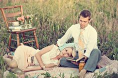 Find a handful of vintage items that perhaps have special meaning to you and use them as props for your rustic engagement photos.  Love this!