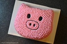 To go along with the piggy cookies that I made in my last post, I also made a piggy cake. To get the shape of the piggy h. Pig Birthday Cakes, Boy Birthday, Birthday Ideas, Pig Party, Farm Party, Peppa Pig, Piggy Cake, Pig Roast, This Little Piggy