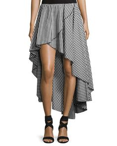CAROLINE CONSTAS Adelle Cotton Gingham Skirt, Black/White. #carolineconstas #cloth #