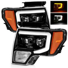 For 09-14 Ford F150 Switchback LED Tube Polished Black Dual Projector Headlights #RacerInnovation