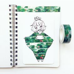 Washi tape art for Bean's room. Chibi Kawaii, Anime Kawaii, Washi Tape, Illustrations, Illustration Art, Tape Art, Dibujos Cute, Leprechaun, Cute Drawings