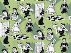 Pillow 50s Atomic Housewife Domestic Goddess Fabric GN   eBay