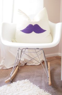 Mustache pillow - perfect for any little man's nursery!