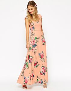 ASOS+WEDDING+Maxi+Tea+Dress+With+Pleated+Skirt+In+Rose+Print