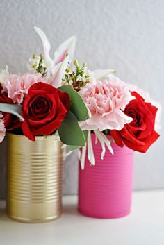 Painted cans for vases DIY
