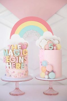 Take a look at the magical birthday cakes joined together with a wonderful rainbow topper at this My Little Pony birthday party. See more party ideas and share yours at CatchMyParty.com Magic Birthday, Little Pony Birthday Party, My Little Pony Party, Rainbow Birthday, Girl Birthday, Birthday Parties, Unicorn Birthday, Birthday Bash, Birthday Ideas