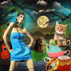 Instagram photo by allthingssuzette - The Owl and the Pussycat. #digitalart #magic #hyperrealism #collage #art #colcci #spring2011 #guipaganini #giselebundchen #pussycat #owl #peagreen #origami #boat #honey #jar #ring #guitar #sail #teacups #edwardlear #poem @allthingssuzette