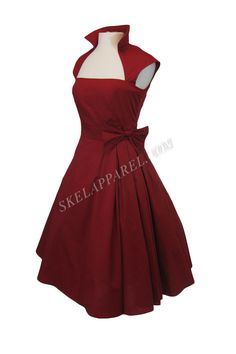 Gothic Rockabilly Red Rose Belted Bow Party Dress