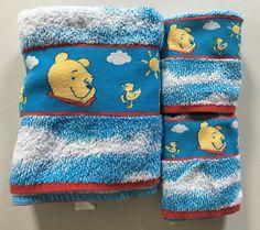 RARE! Disney Home~Winnie The Pooh~Ducks~3PC Towel Set~Cotton~Blue White Clouds