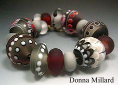HANDMADE LAMPWORK Glass Beads SET by Donna Millard