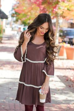 Check out the fringe detailing on our From Tier to There Brown Dress! Trending Fashion, Latest Fashion, Shop Dress Up, Fashion Styles, Fashion Trends, Brown Dress, Playing Dress Up, Cold Shoulder Dress, Cute Outfits