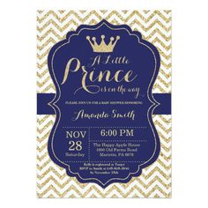 "Prince Baby Shower Invitation Navy and Gold Prince Baby Shower Invitation with Navy and Gold Glitter Chevron background. For further customization, please click the ""Customize it"" button and use our design tool to modify this template. Baby Shower Purple, Baby Shower Niño, Baby Shower Gifts, Gold Shower, Shower Party, Bridal Shower, Custom Baby Shower Invitations, Baby Shower Invitation Templates, Baby Invitations"