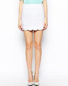 Image 4 ofASOS Linen Mini Skirt with Scallop Hem