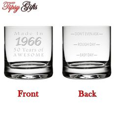 Custom 50th Birthday Etched Tumbler Glass Etched by TipsyGifts