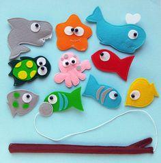 Felt Magnetic Fishing Game, Kids Magnet Fishing Set, Eco friendly accessory for imaginative play, felt sea animals, fish,whale,turtle, shark