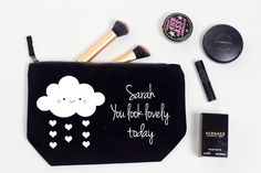 Personalised Makeup Bag Kawaii cloud design by PureTreatsWedding Personalized Makeup Bags, Personalized Wedding Gifts, You Look, Coin Purse, Kawaii, Clouds, Treats, Pure Products, Trending Outfits