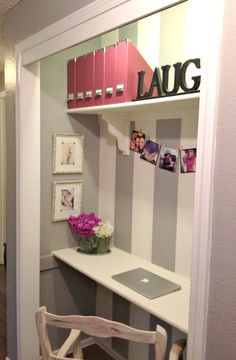 closet into office. convert second closet in master to this mirror and make up home office inspiration into