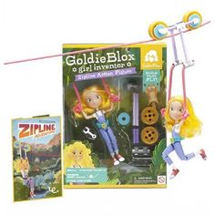 goldieblox zip line GoldieBlox: Construction toy featuring the world's first girl engineer character, Goldie Blox! While many dolls are about dress up Toys For Girls, Gifts For Girls, Kids Toys, Engineering Toys, Little Presents, Thing 1, Building Toys, Educational Toys, Cool Toys