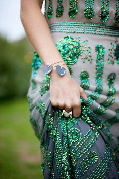 Jenny Packham dress - green beads on grey dress