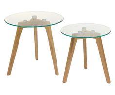 Set di 2 tavolini in quercia e vetro Easy