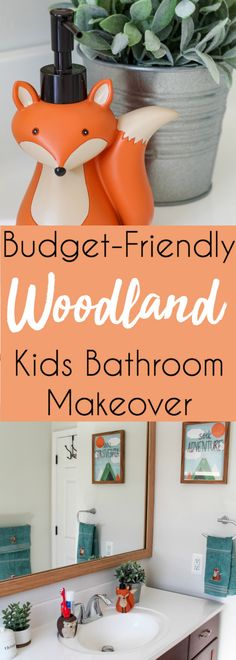 Budget-Friendly Woodland Themed Kids Bathroom Makeover with @walmart for under $150! #ad #kidsbathroom #budgetbathroom #bathroommakeover