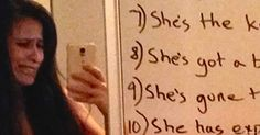 A woman who had gone on an angry tirade against her husband returned home to find THIS on the mirror.