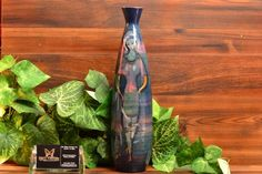 Pillin Pottery 3 Women with Fish Blue Tall Bottle Pinched-Neck Vase Modern Ceramics, Mid-century Modern, Backdrops, Mid Century, Pottery, Vase, Display, Bottle, Beautiful