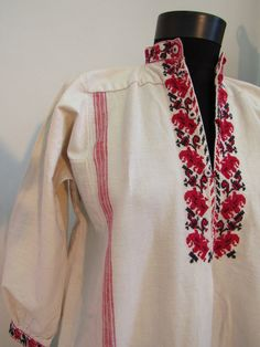 19th Century Chemise Folk Native Bulgarian Robe Hand Embroidered from Pleven