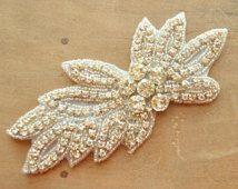 Crystal Applique, Rhinestone Applique, Wedding Applique, Bridal Applique, Beaded Crystal, Beaded Rhinestones