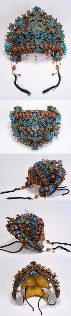 China | Kingfisher headdress.  ca. late 19th century || 57'475$ ~ (Sold March 2016)
