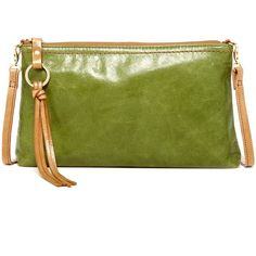 Hobo Darcy Convertible Leather Crossbody ($50) ❤ liked on Polyvore featuring bags, handbags, shoulder bags, kiwi, leather cross body purse, crossbody shoulder bags, leather purse, shoulder strap bag and green leather purse