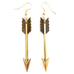 Antique gold arrow earrings