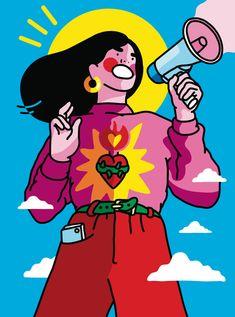 ilustration Xaviera Altenas Colorful Illustrational World Fubiz Media Character Illustration, Graphic Illustration, Portrait Illustration, Illustration Inspiration, Image Deco, Feminist Art, Hippie Art, Arte Pop, Aesthetic Art