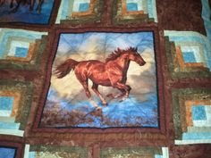 Horse Quilt Nature Quilt Wild Animal Quilt by QuiltsByTaylorDesign Quilts For Men Patterns, Quilt Block Patterns, Quilt Blocks, Quilting Projects, Quilting Designs, Quilting Ideas, Western Quilts, Cowboy Quilt, Bear Paw Quilt