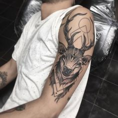 Black stag with bold geometric pattern by Davide Trifoni who specialises in unique custom neo traditional colour tattoos at Scratchline tattoo  245 Kentish town road NW5 2JT email scratchlinetattoo@gmail.com or call 0207 018 1832 to book a consultation