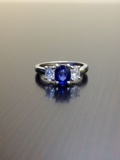 Platinum Ceylon Blue Sapphire Diamond Engagement by DeKaraDesigns